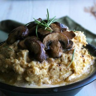 Roasted Garlic Mashed Cauliflower with Sautéed Mushrooms