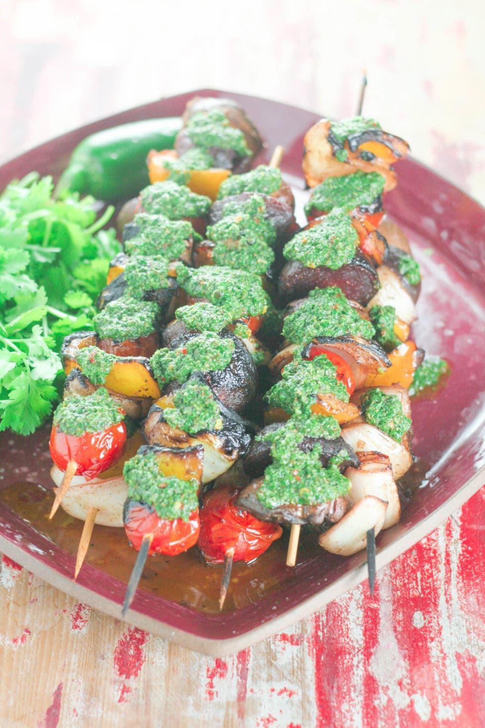 A plate of vegetable skewers fresh off the barbecue