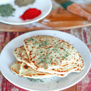 Vegan Garlic Naan Made on Stovetop without Yeast