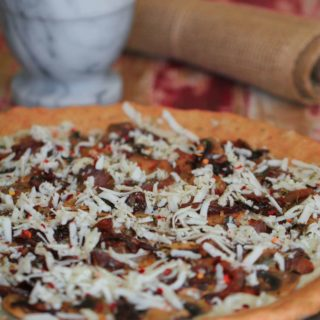 Caramelized Onion & Mushroom Vegan Pizza with Cashew-Basil-Garlic Sauce