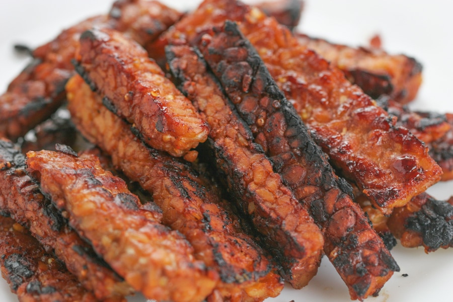 A plate of Tempeh Bacon