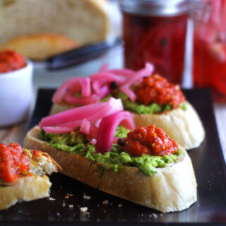 Avocado Tartine with Hot Serbian Ajvar and Spicy Pickled Onions