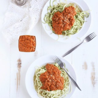 Spiralized Zucchini Noodles with Pumpkin Sage Alfredo Sauce