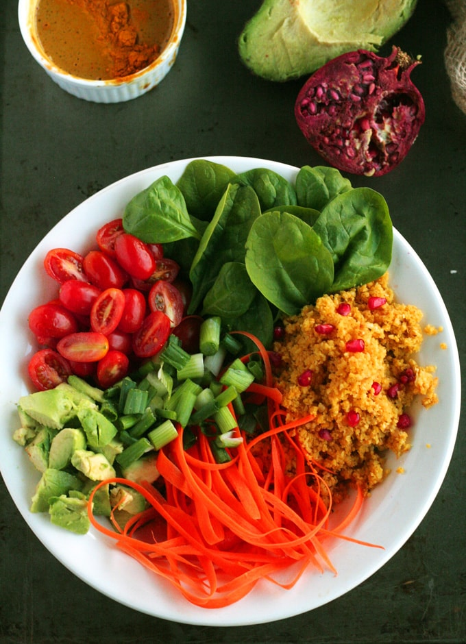 An overhead shot of a salad with different types of vegetables