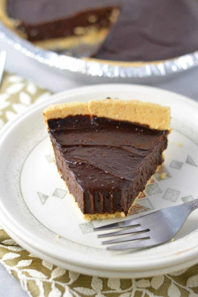 A piece of chocolate pie on a plate