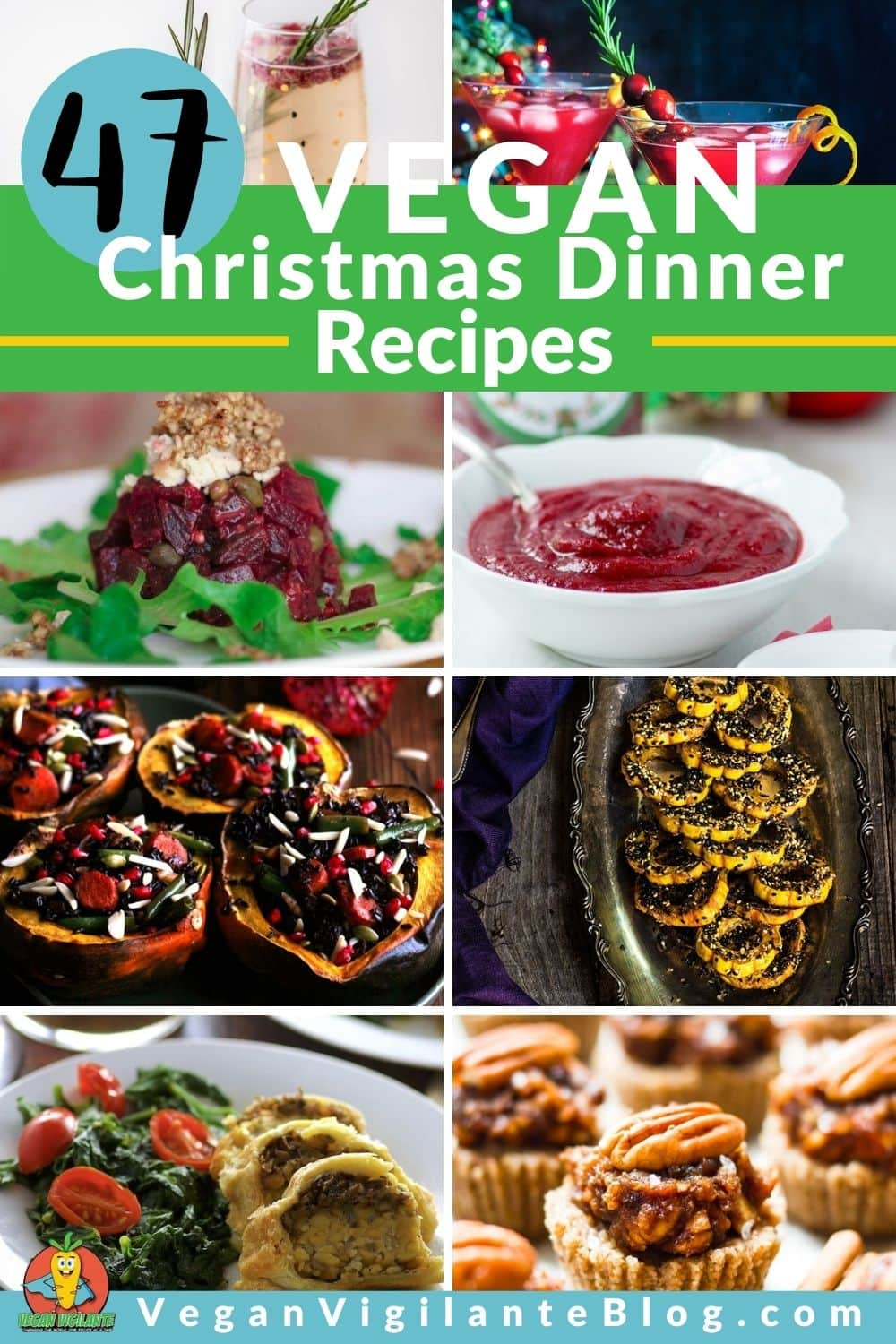 Collage of 47 Vegan Christmas Recipes for Pinterest