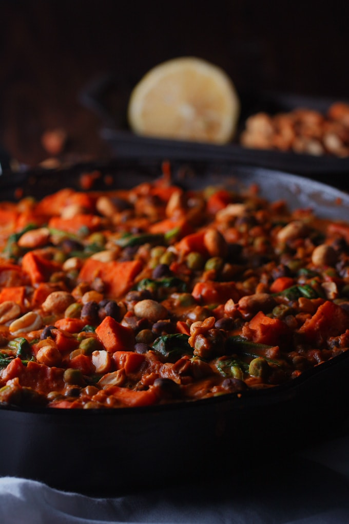 A skillet full of stew on a table
