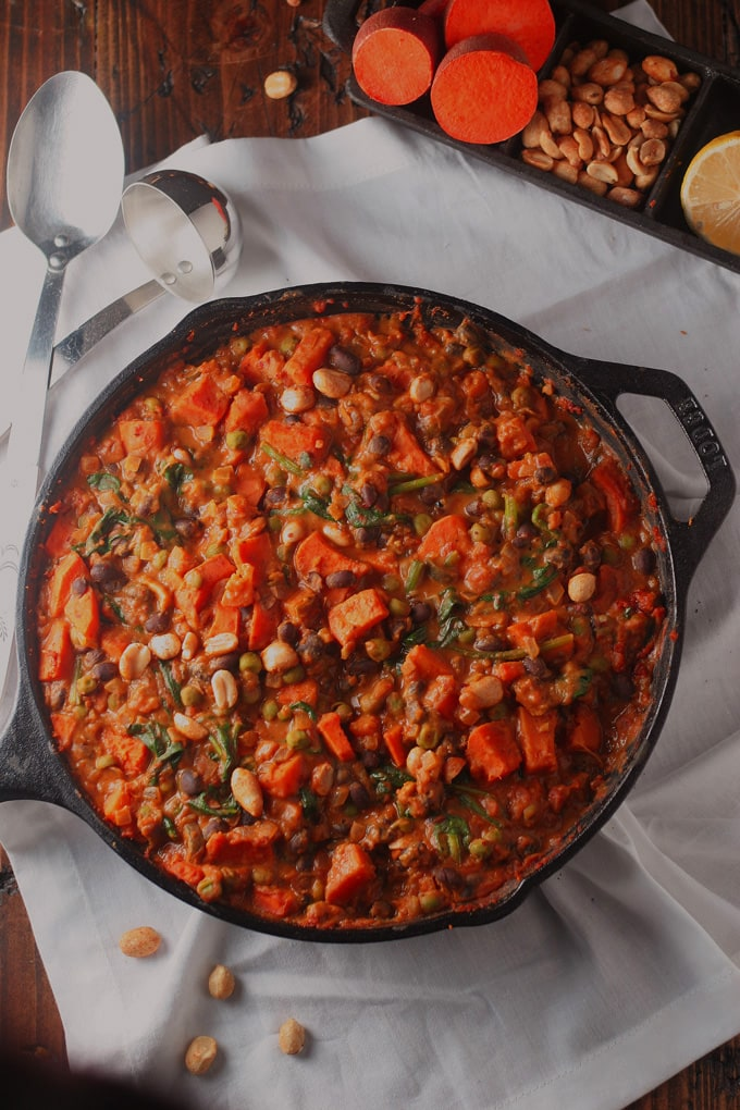 An overhead shot of skillet of African Peanut Stew