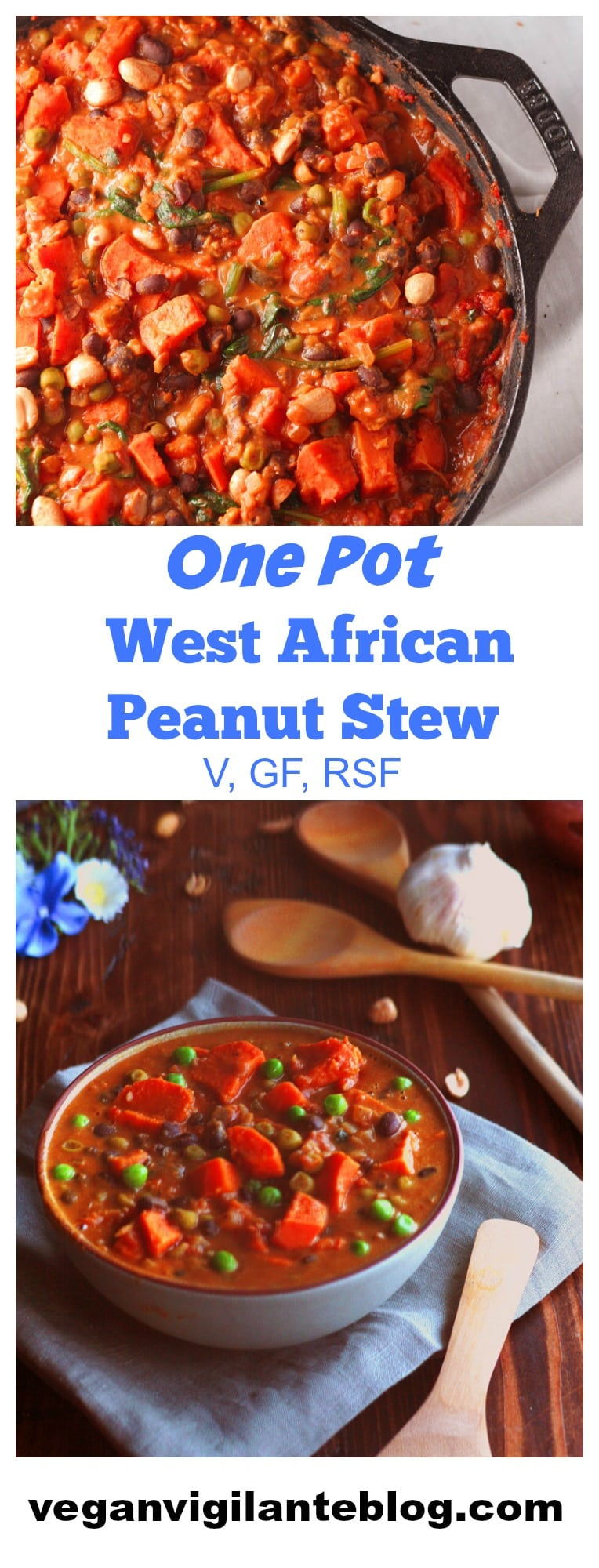 A Pinterest pin of peanut stew
