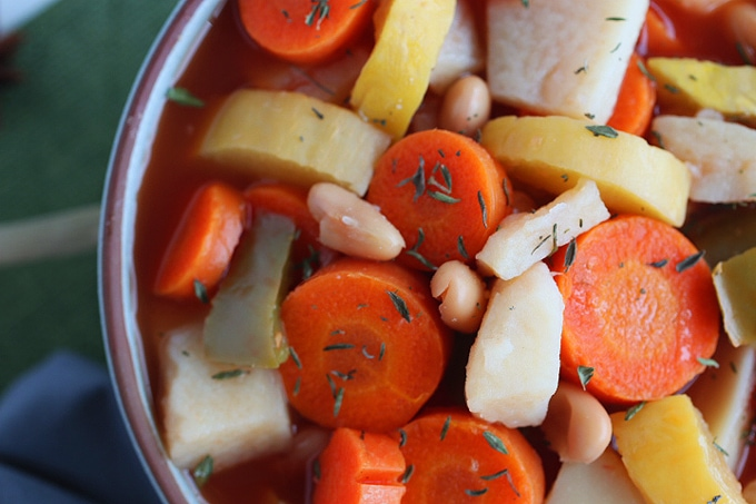 A closeup of a bowl of Vegetable soup