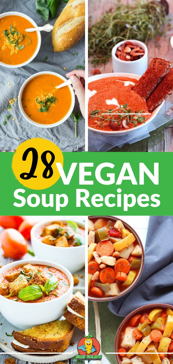 A Pinterest pin of a bunch of different types of soup