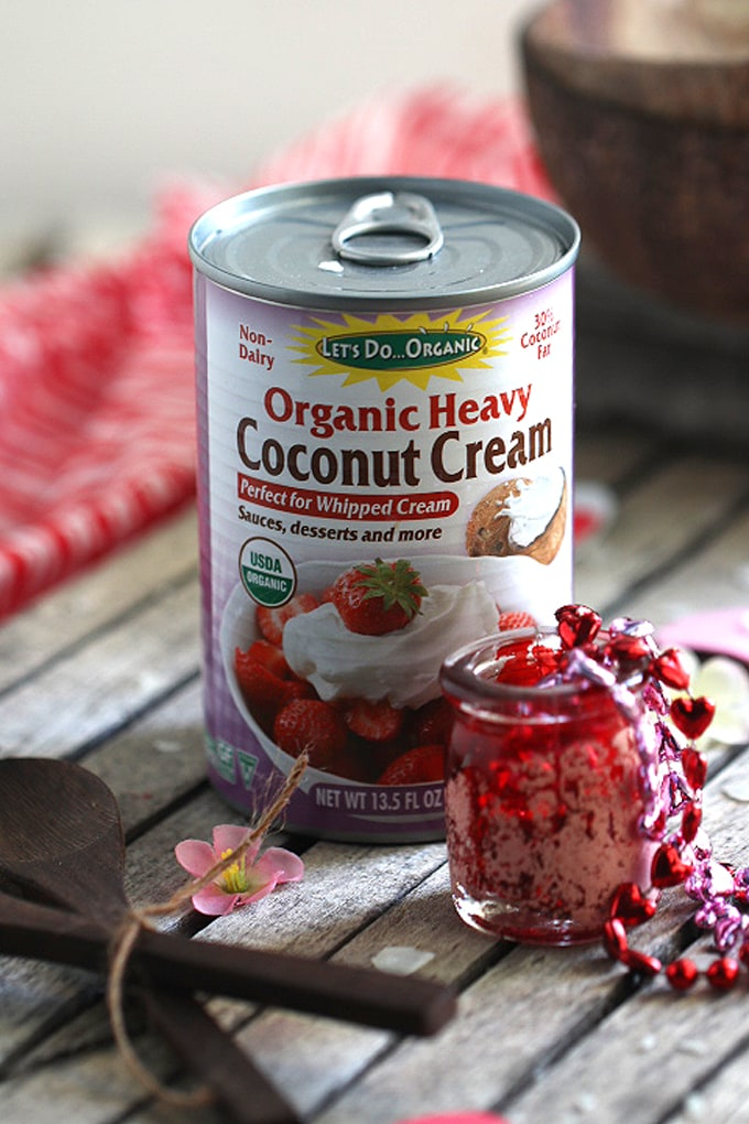 A can of heavy coconut cream on a table by Let\'s Do Organic