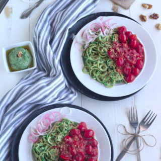 Walnut Pesto Zoodles topped with Garlic Cherub Tomatoes