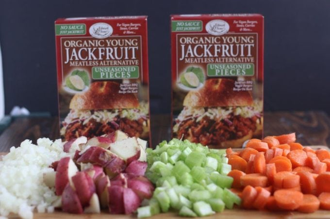 A close up of ingredients for Irish Stew and two boxes of Jackfruit