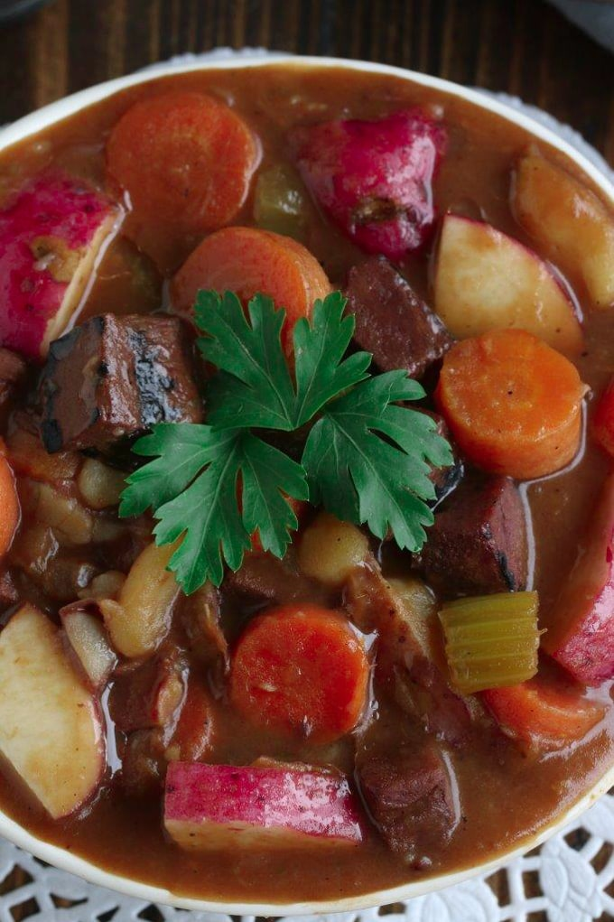 A close up of stew in a bowl