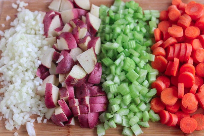 cut vegetables and potato for stew recipe
