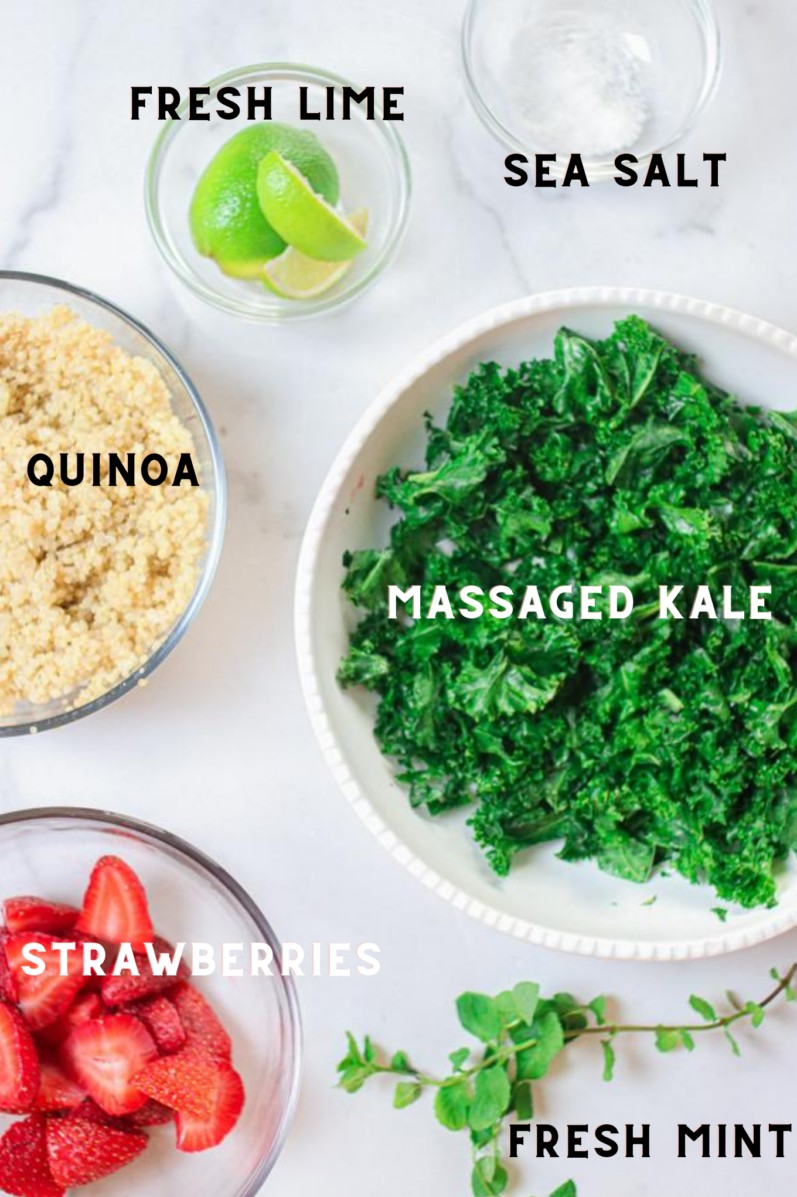 image of ingredients for massaged kale salad