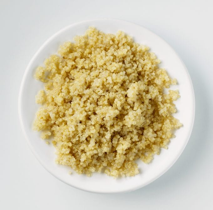 Picture of Cooked Quinoa on White Plate