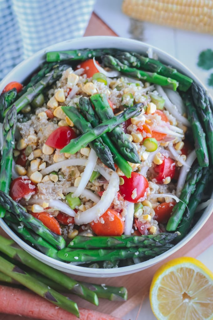 Closeup of Chilled Asparagus Salad in White Bowl