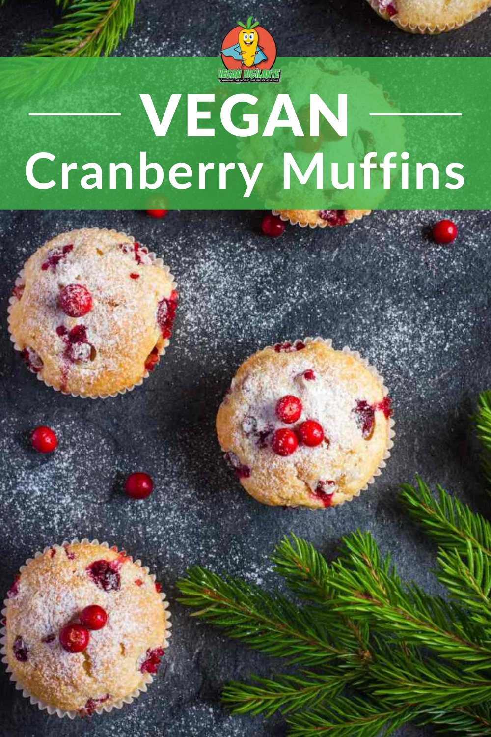 an overhead shot of muffins filled with cranberry and sprinkled with sugar