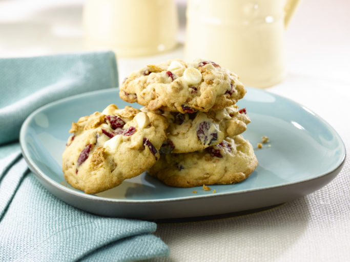 A plate of cookies on a table