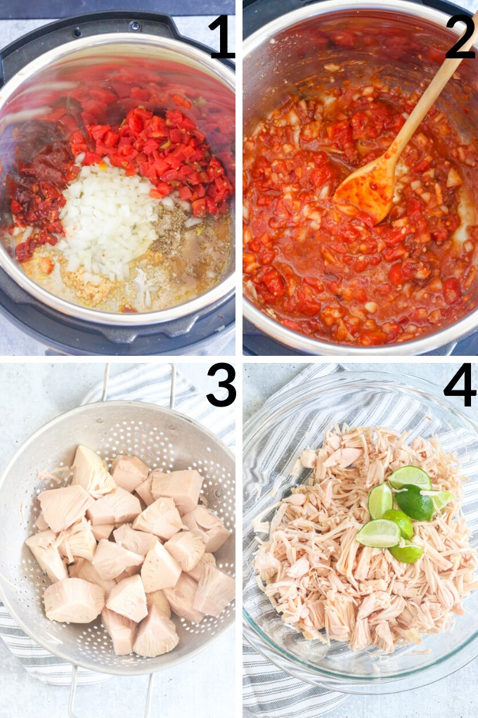pictures of steps to make tinga tacos