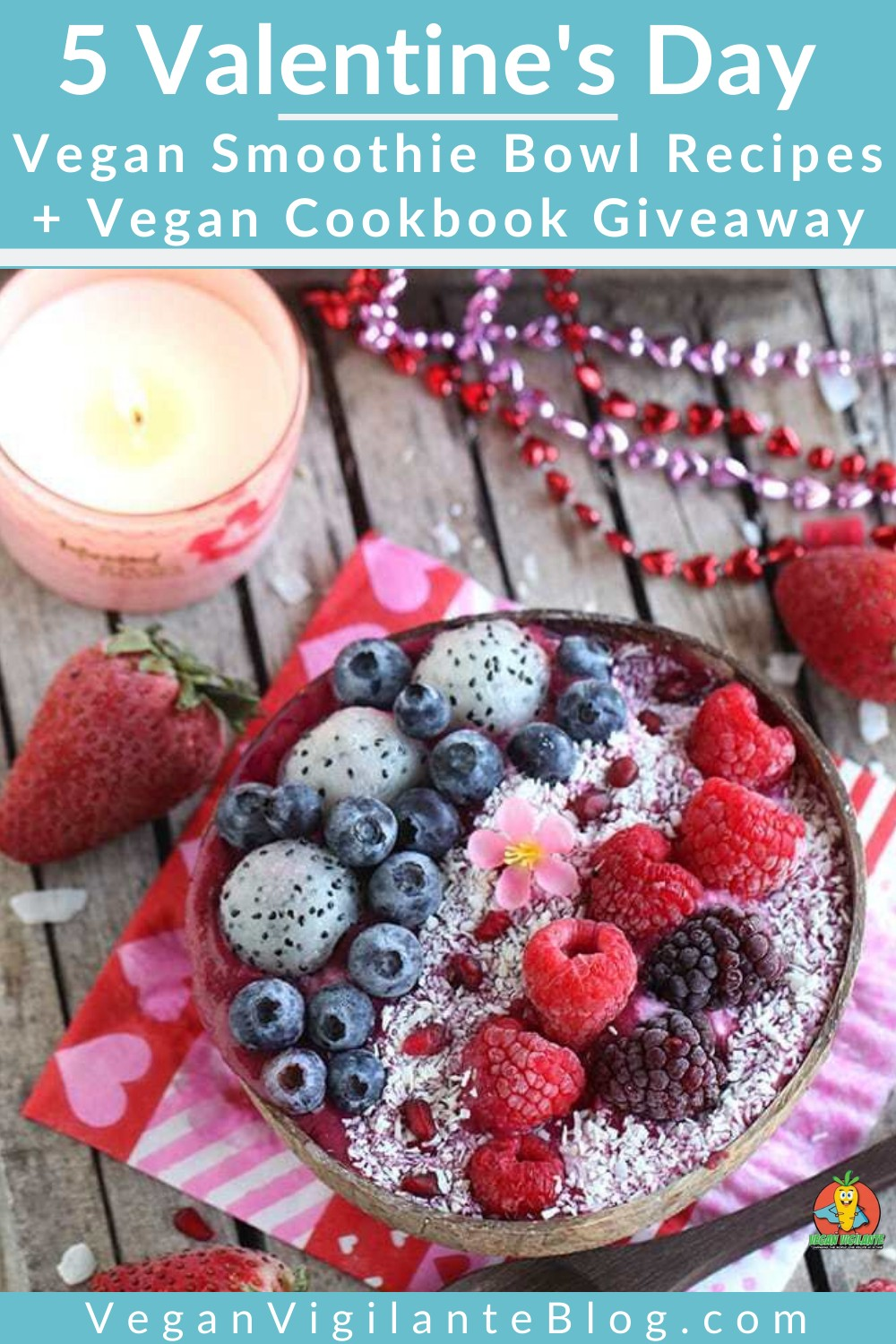 A coconut bowl filled with a fruit and berry smoothie