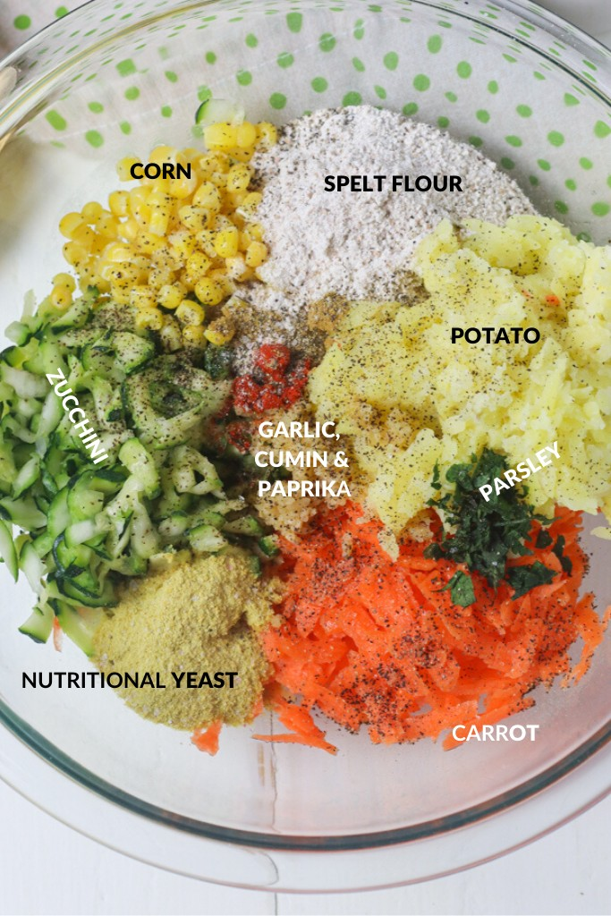 A clear bowl of ingredients to make vegan fritters