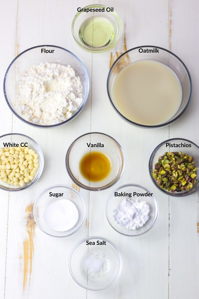 collage of individual recipe ingredients in clear bowls for making vegan pancakes