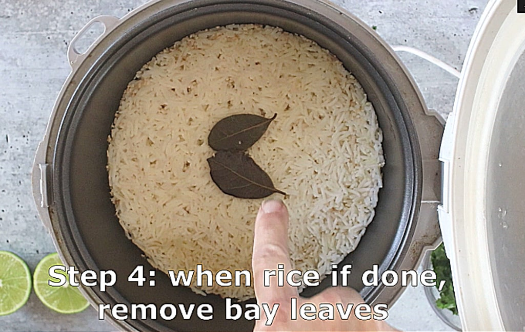 Step 4 remove bay leaves when rice is done