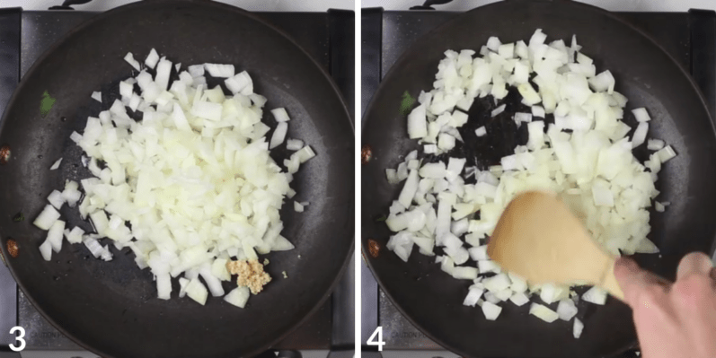 onions and garlic being sauteed in a skillet while being stirred by a person