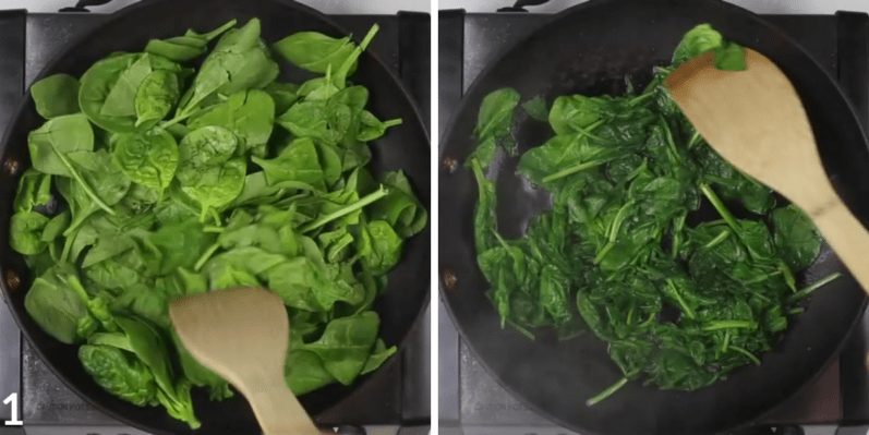 spinach being sauteed in pan and stirred by someone