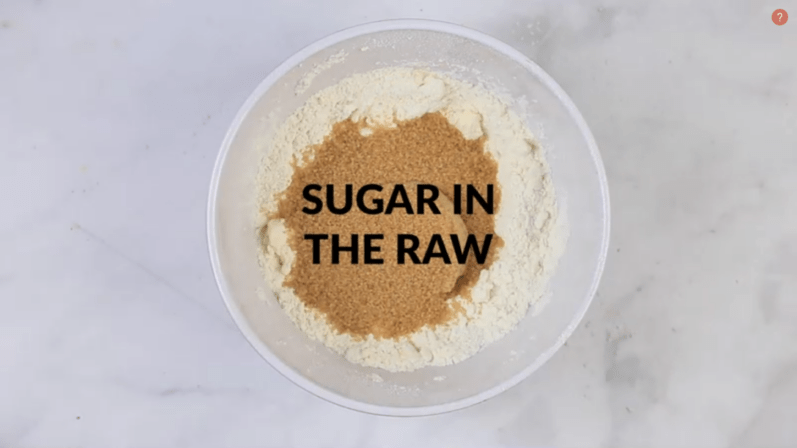 sugar in the raw added to bowl to rest of ingredients for vegan cookie dough bites