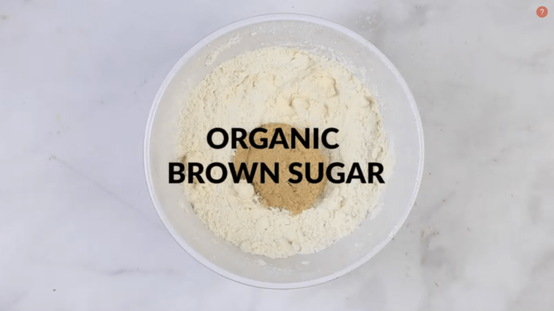 brown sugar added to the ingredients for the cookie dough bites