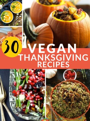 collage of vegan thanksgiving recipes from different food bloggers