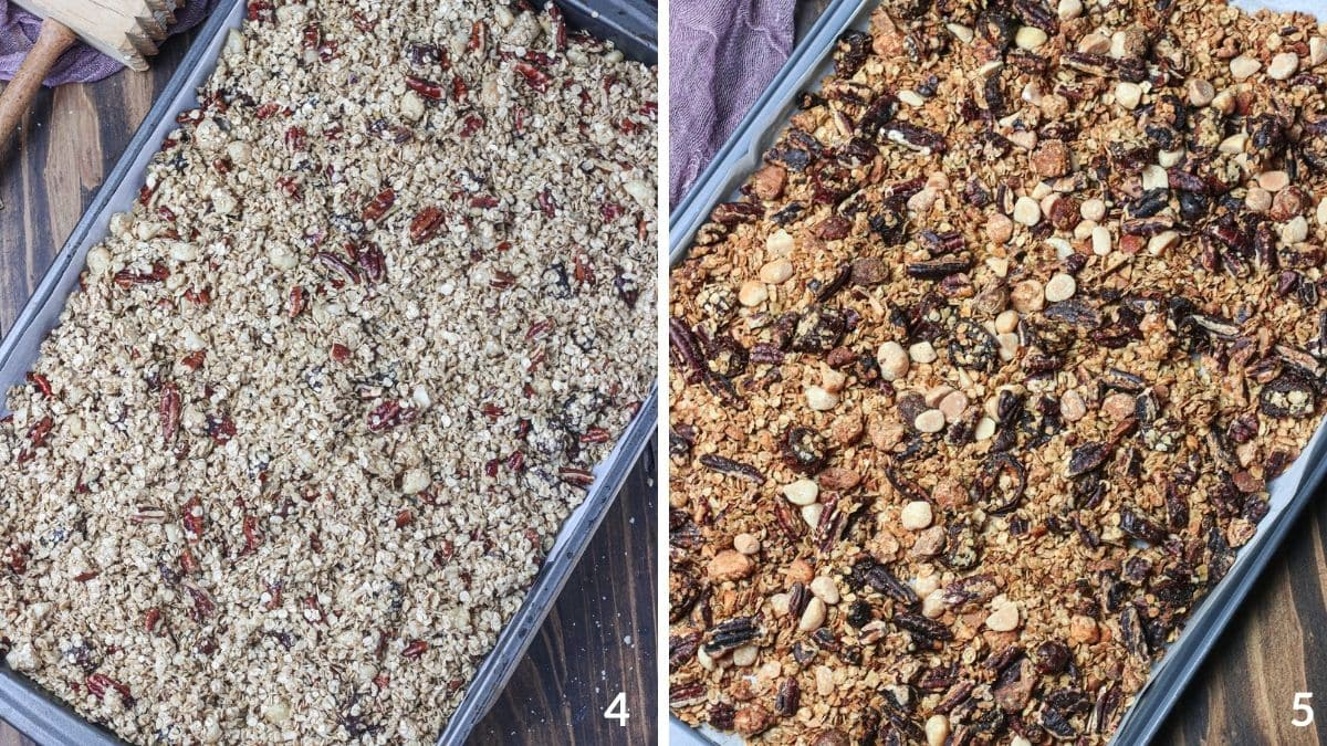 Steps 4 and 5 for how to make granola