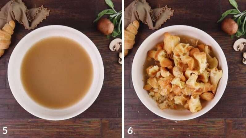 steps 5 and 6 on how to make vegan stuffing