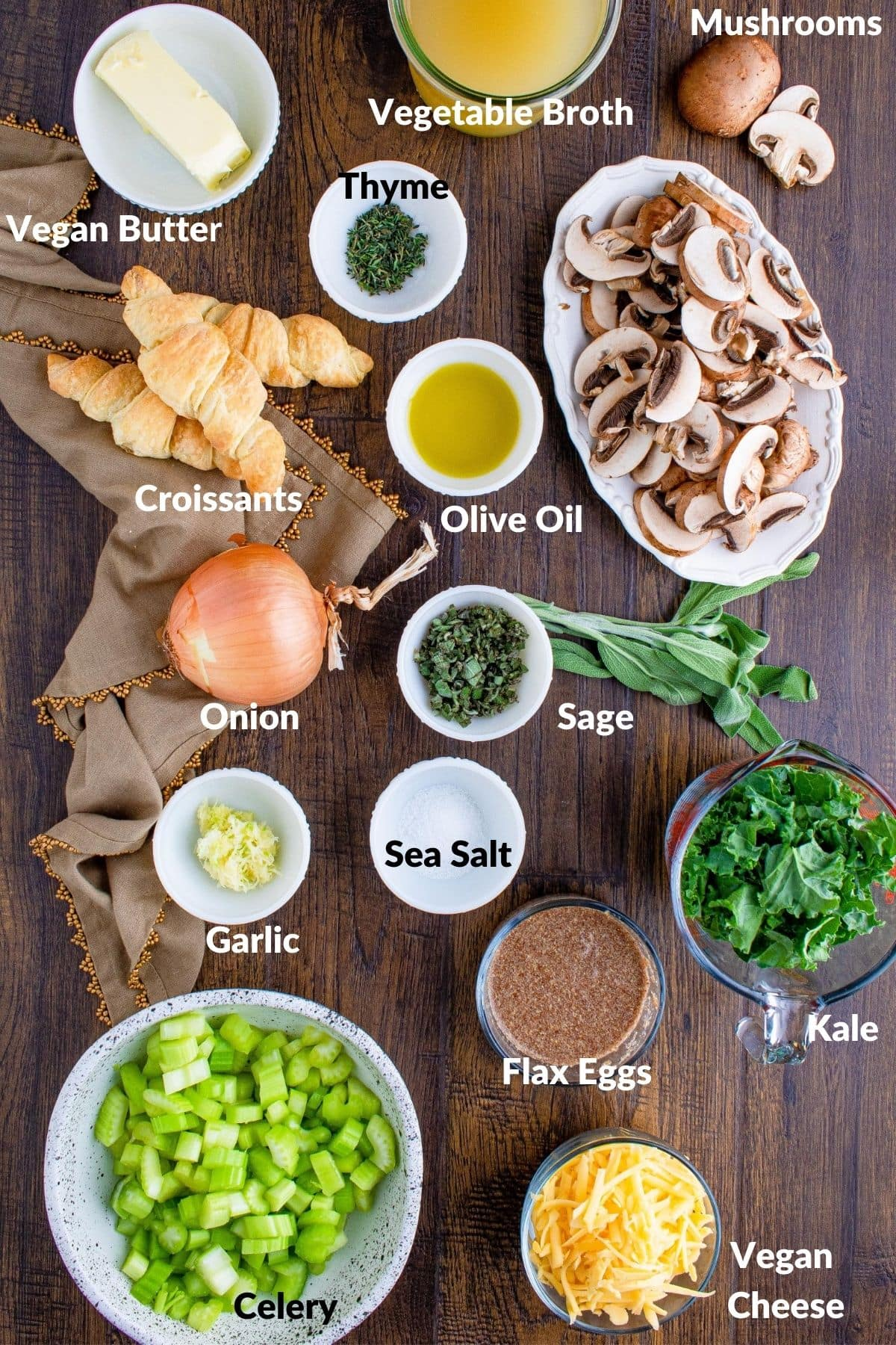 ingredients for vegan stuffing on a wood table