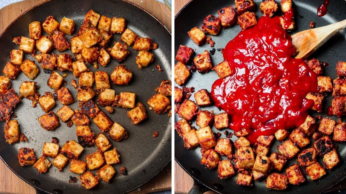 steps 8 and 9 for frying and adding sauce to General Tso's Tofu