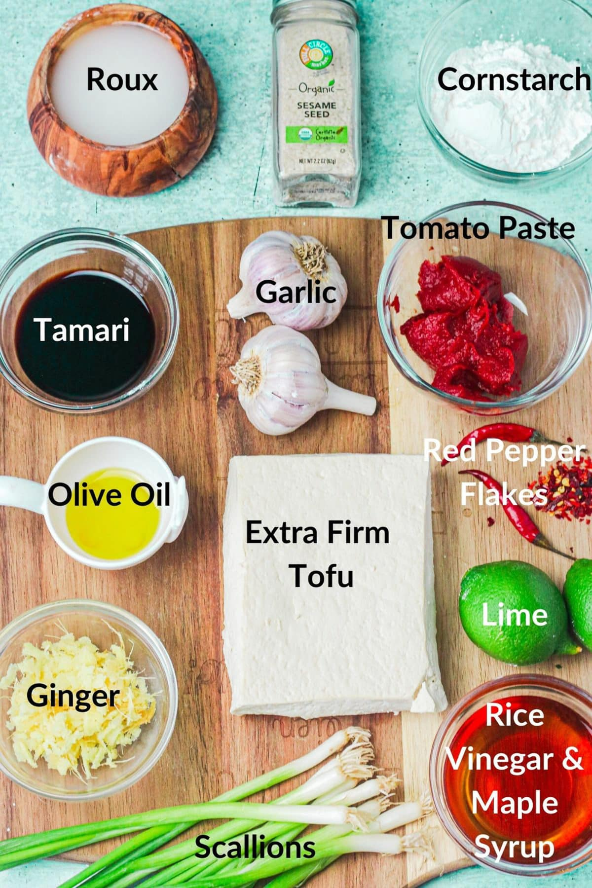 ingredients for General Tso's Tofu