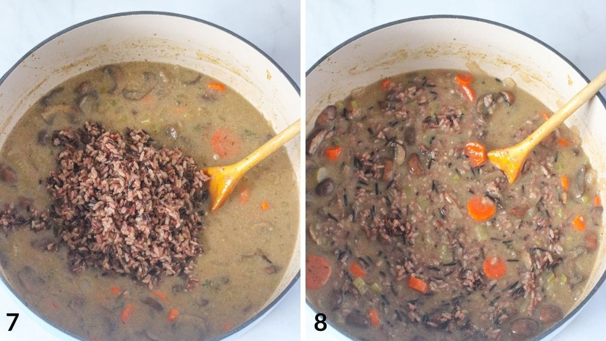 how to make vegan soup recipe steps 7 and 8.