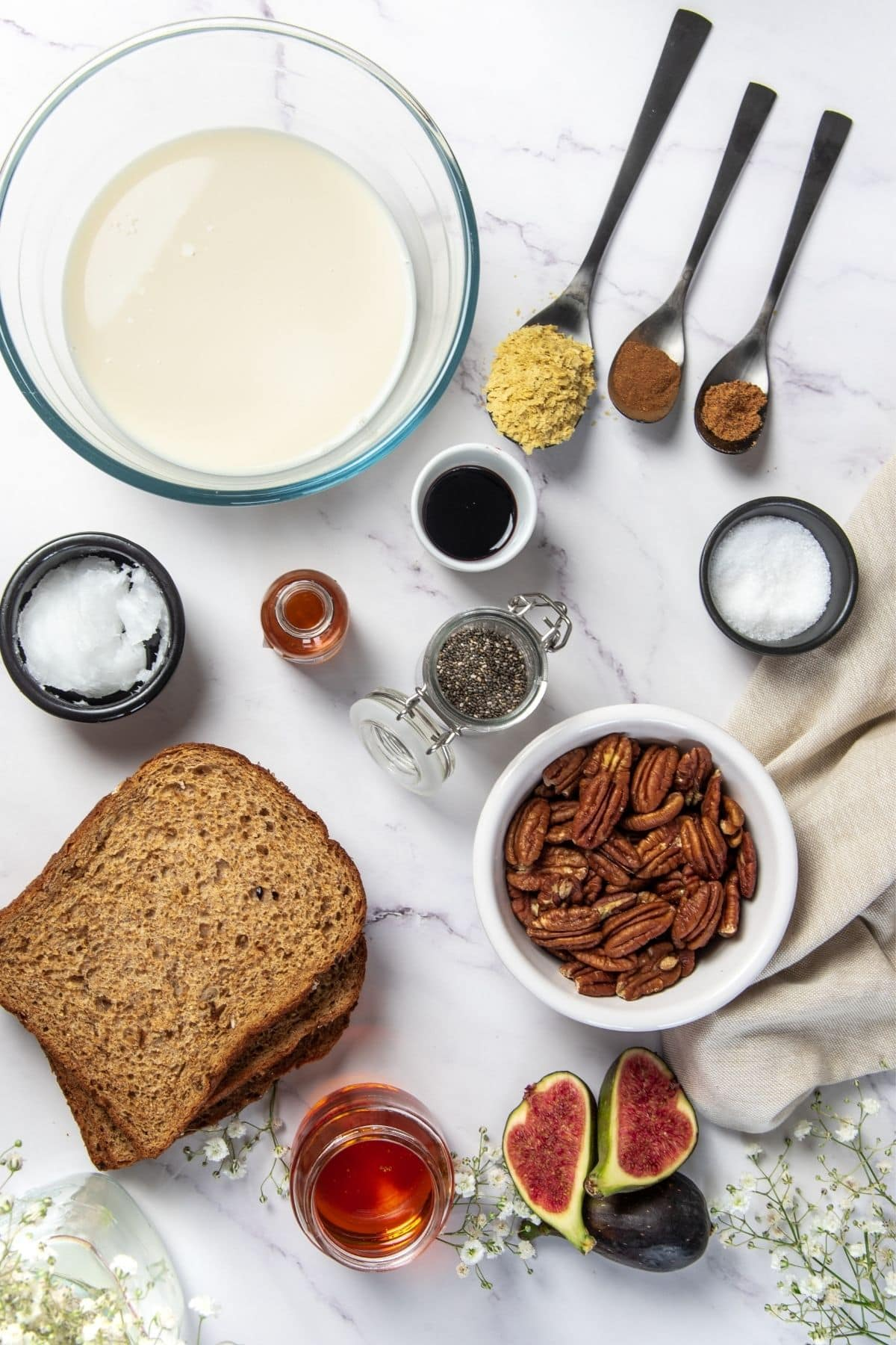 ingredients for pecan-crusted easy vegan French toast